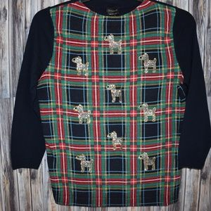 Talbots Wool Dog Holiday Christmas Sweater Plaid M